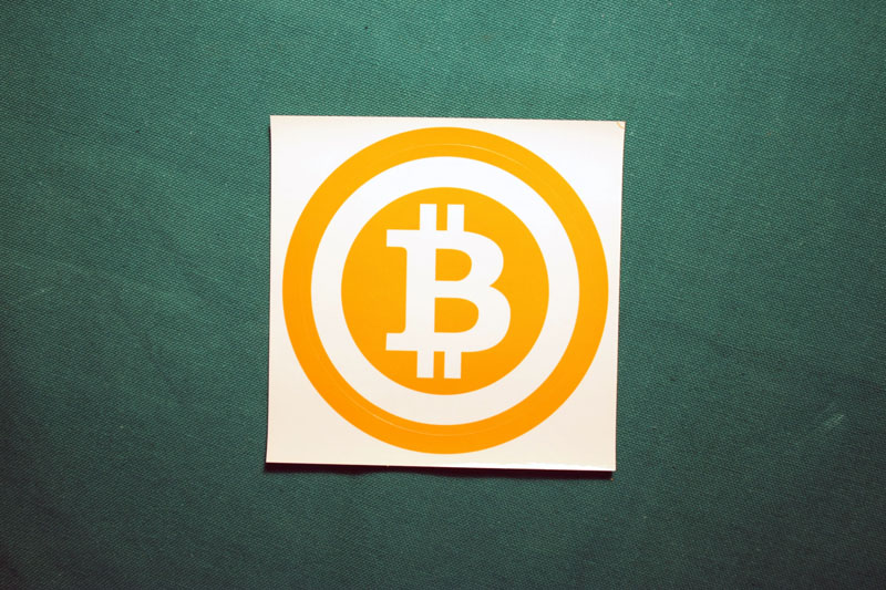 Bitcoin Symbol Orange Ring Round Sticker