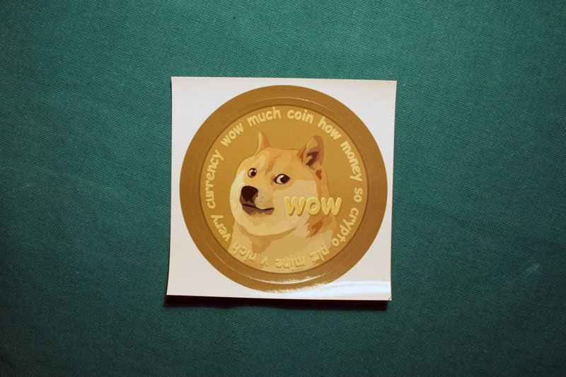 Dogecoin With Letters Round Sticker