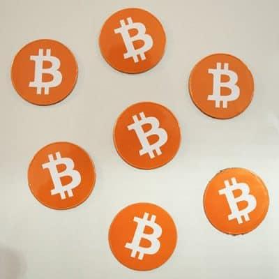 Bitcoin Magnet Orange Round Sticker 35mm