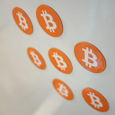 Bitcoin Magnet Orange Round Sticker 35mm